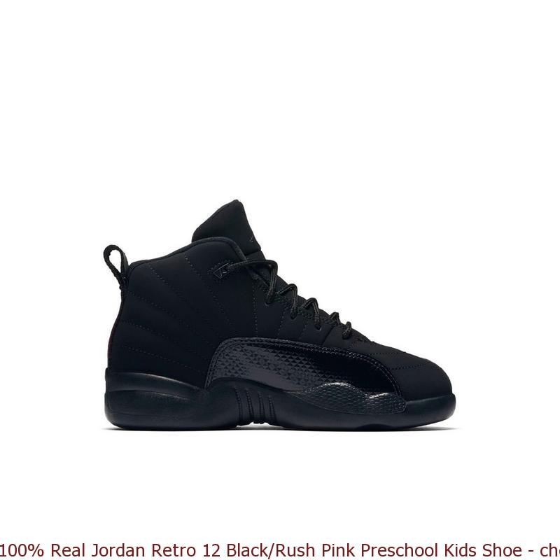 new arrival 5ba57 40cc0 100% Real Jordan Retro 12 Black/Rush Pink Preschool Kids Shoe - cheap  yeezys - S0218