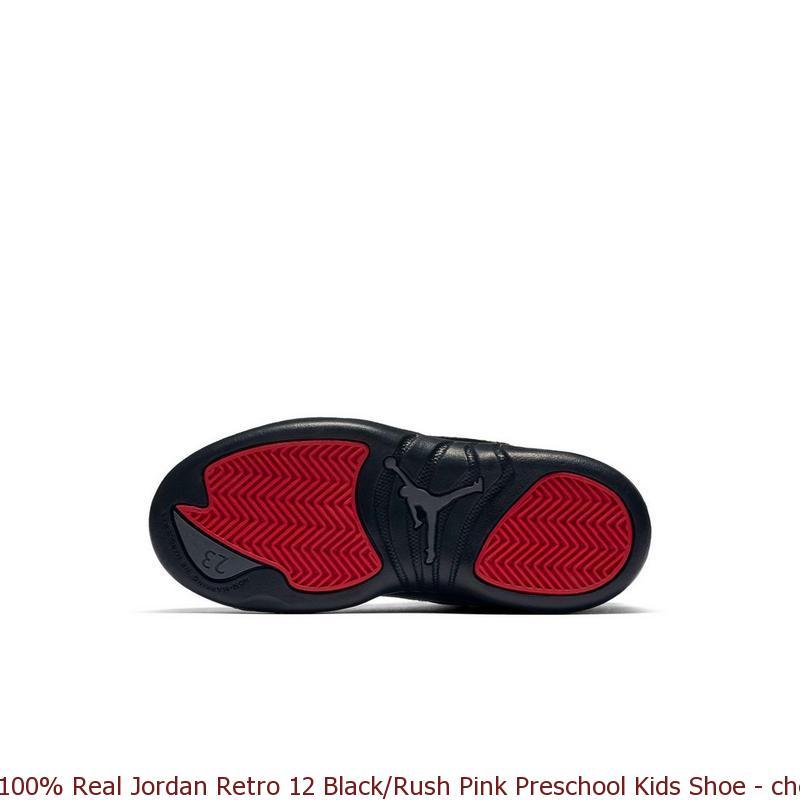 new arrival 42769 1603d 100% Real Jordan Retro 12 Black/Rush Pink Preschool Kids Shoe - cheap  yeezys - S0218