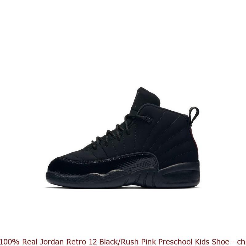92e79c1d19c4 100% Real Jordan Retro 12 Black Rush Pink Preschool Kids Shoe – cheap ...