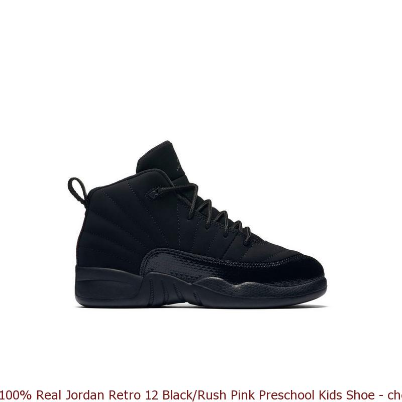 new arrival 5fbda b5490 100% Real Jordan Retro 12 Black/Rush Pink Preschool Kids Shoe - cheap  yeezys - S0218