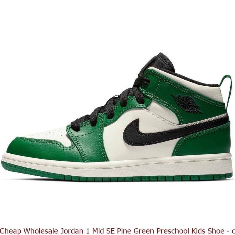 info for 590da e25c9 Cheap Wholesale Jordan 1 Mid SE Pine Green Preschool Kids Shoe - cheap  jordans kicks - R0470