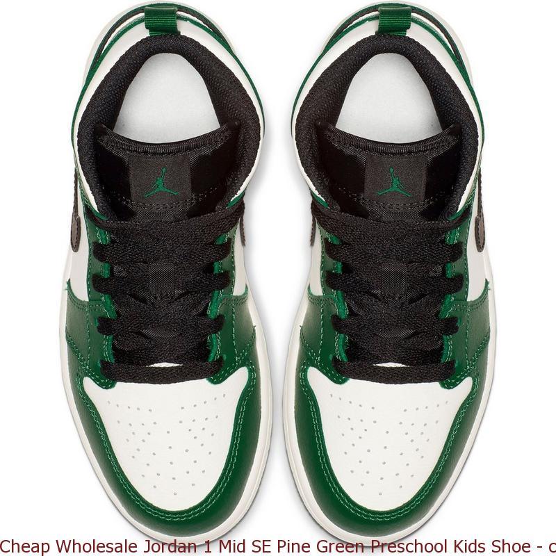 new concept 24007 e17d2 Cheap Wholesale Jordan 1 Mid SE Pine Green Preschool Kids ...