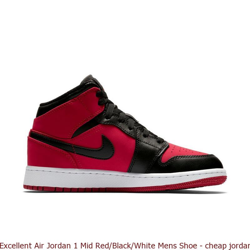 premium selection b185a 565d8 Excellent Air Jordan 1 Mid Red Black White Mens Shoe – cheap jordan  basketball shoes ...