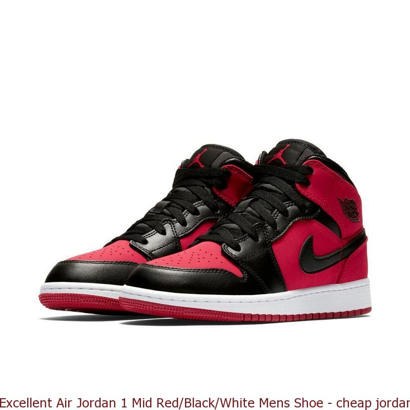 reputable site 61fbe 82da2 Excellent Air Jordan 1 Mid Red/Black/White Mens Shoe - cheap jordan  basketball shoes - Q0194